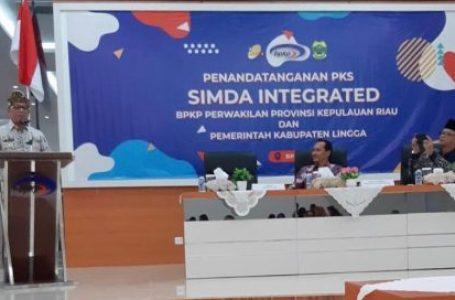 Pemkab Lingga Teken MoU Simda Integrared dengan BPKP Kepri